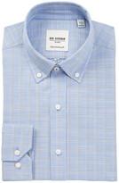 Ben Sherman Tailored Slim Fit Blue Slub Check Dress Shirt