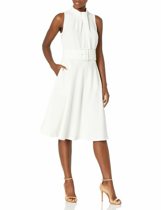 Tahari ASL Women's Sleeveless Fold Neck Belted Fit and Flare Dress