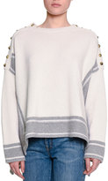 Alexander McQueen Military Striped Cashmere Sweater w/Buttons, Gray/White