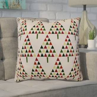 "Briese Christmas Triangle Trees Throw Pillow The Holiday Aisle Size: 26"" H x 26"" W, Color: Cream"