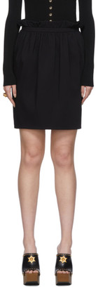 Versace Black Silk Pleated Waist Miniskirt