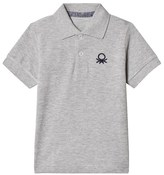 Benetton S/S Pique Logo Polo T-Shirt Light Grey