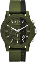 Armani Exchange Men's Chronograph Outerbanks Green & Black Silicone Strap Watch 45mm
