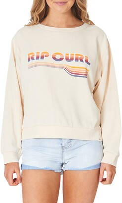 Rip Curl Golden Days Rainbow Logo Cotton Blend Sweatshirt