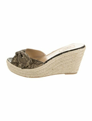 Valentino Woven Wedge Sandals Tan