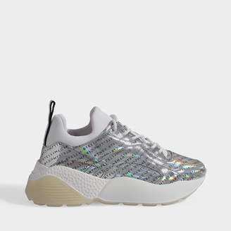 Stella McCartney Eclypse Logo Sneakers Laces In Silver Polyester