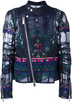 Sacai tribal lace embroidered biker jacket - women - Cotton/Polyester - I