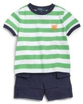 Ralph Lauren Infant's Two-Piece Striped Tee & Shorts Set