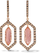 Larkspur & Hawk - Caprice Floating 14-karat Rose Gold, Diamond And Quartz Earrings - one size