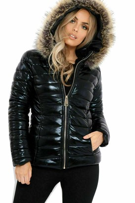 Fashion4u Ladies Women Wet Look Puffer Coat Winter Shiny PU Padded Faux Fur Jacket Hooded (Black Medium)
