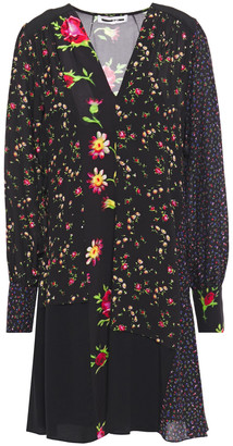McQ Paneled Floral-print Crepe De Chine Dress