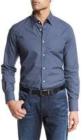 Neiman Marcus Box Dot-Print Long-Sleeve Sport Shirt, Navy