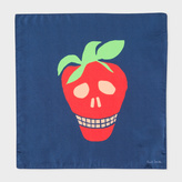 Paul Smith Men's Navy Large 'Strawberry Skull' Print Silk Pocket Square