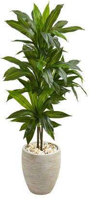 Nearly Natural 4' Dracaena Artificial Plant in Sand Colored Planter - Real Touch
