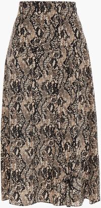Veronica Beard Ramos Pleated Snake-print Silk Crepe De Chine Midi Skirt