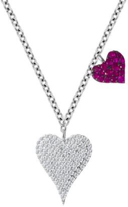 Meira T 14K White Gold Diamond & Ruby Double Heart Pendant Necklace