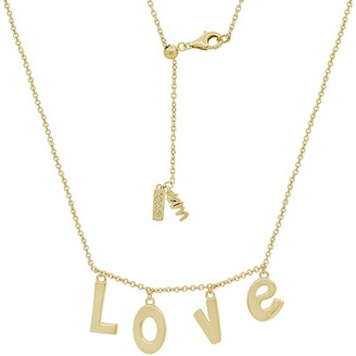 Peace Love World Love Initial Dangle Necklace,14K Clad