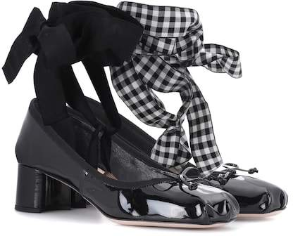 Miu Miu Patent leather lace-up ballerina pumps