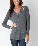 Yuka Paris Gray & Ivory Button-Up Cardigan