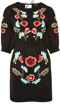 Topshop Embroidered blouson sleeve shift dress