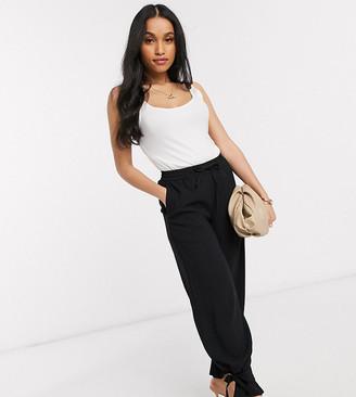 Vero Moda Petite tailored pants with tie hem detail in black