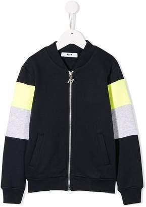 MSGM Kids rear logo zipped sweatshirt