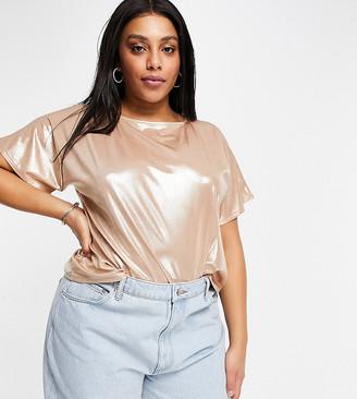 ASOS DESIGN Curve T-shirt in peach metallic