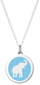 """Auburn Jewelry Elephant Pendant Necklace in Sterling Silver and Enamel, 16"""" + 2"""" Extender"""