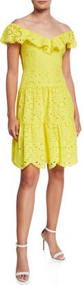 Nanette Lepore Off-the-Shoulder Tiered Eyelet Dress