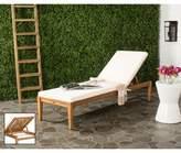 Safavieh Arcata Outdoor Chaise Sun Lounger in Teak Brown/ Beige