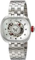 TULIPENOIRE Women's Mechanical Hand Wind Stainless Steel Watch, Color:Silver-Toned (Model: B3)
