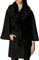 Karen Millen Faux Fur Collar Cape Sleeve Coat
