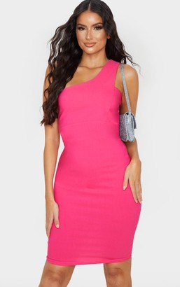 Ooh! La Oohla Hot Pink Woven Stretch One Shoulder Midi Dress