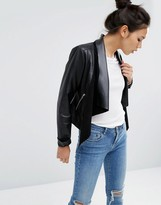 Asos Leather Waterfall Jacket
