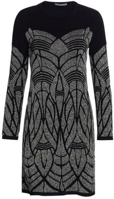 Alberta Ferretti Stretch Metallic Knit Geometric Dress