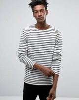 ONLY & SONS Breton Sweatshirt with Curved Hem in White