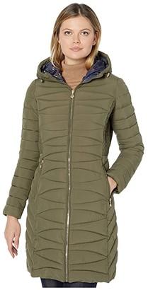 Bernardo Fashions EcoPlume Soft Touch Walker Coat /w Printed Liner (Dark Olive) Women's Jacket