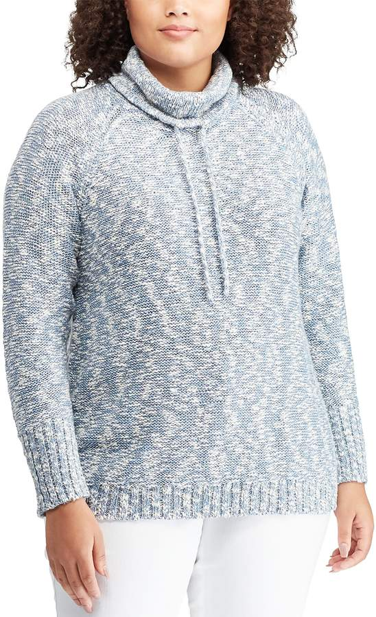 Chaps Plus Size Marled Funnelneck Sweater