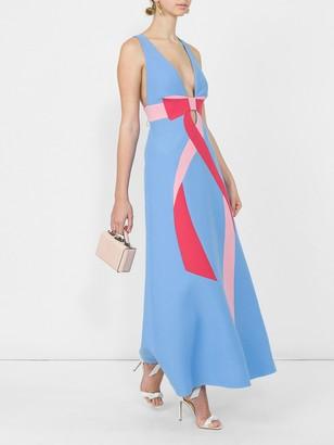 Wool Silk Dress With Bow Intarsia Blue