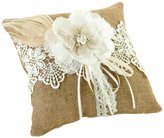 Lillian Rose Burlap and Lace Ring Pillow, 8-Inch