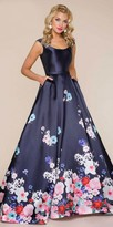 Mac Duggal Scooped Watercolor Floral Print Evening Dress