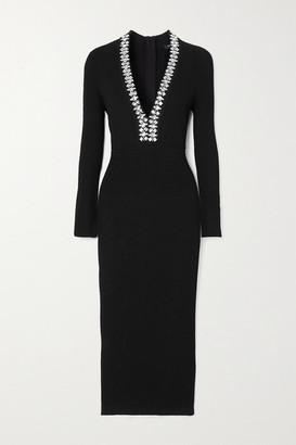 Balmain Crystal-embellished Ribbed-knit Midi Dress - Black