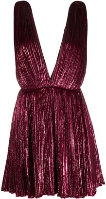 Saint Laurent Lame-Effect Pleated Mini Dress