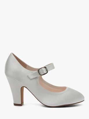 Rainbow Club Madeline Block Heeled MJ Shoes, Ivory Satin