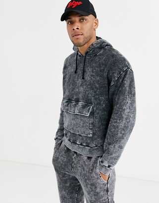 Asos Design DESIGN co-ord oversized cropped hoodie in acid wash with deep rib & front pocket-Black