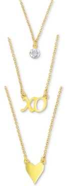 "Rachel Roy Gold-Tone Crystal, Xo & Heart Layered Pendant Necklace, 16"" + 3"" extender"
