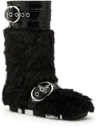Miu Miu Buckled Faux Fur Boots