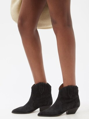 Isabel Marant Dewina Suede Western Ankle Boots - Black