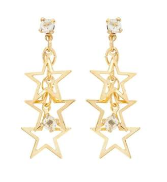 Susan Caplan Vintage 1990s Vintage Gold Plated Star Swarovski Crystal Earrings