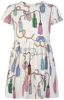 Mini Rodini Ivory Organic Cotton Tassels Dress